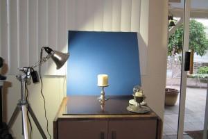 The setup - A single LED lamp, a sheet of glass, and a backdrop.